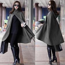 Women Grey Hoodie Hooded Cape Cloak Wool Blend Trench Poncho Coat Shawl Fashion