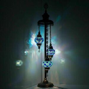 Turkish Moroccan Style Mosaic Multicolour Floor Lamp Light 3 Large Globe