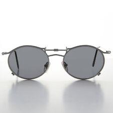 90s Oval Steampunk Sunglass Silver Frame Gray Lens - Lucian