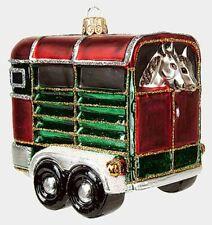 Horse Trailer Equestrian Polish Mouth Blown Glass Christmas Ornament