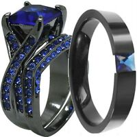 Size K to Z5 Black Blue Sapphire Wedding Engagement Ring Band Set Pair Double