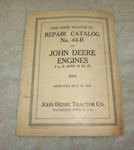 JOHN DEERE ENGINES REPAIR CATALOG No. 44-R Dated 7/15/35 ORIGINAL 20 Pages