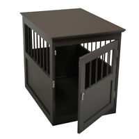 Wooden Dog Crate End Table Indoor Kennel Cage Pet Bed Furniture House Wood Puppy