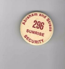 Old A & S pin Security badge ABRAHAM and STRAUS Sunrise Mall Department Store