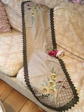 Antique Victorian Table Runner Embroidered Needlework Sunflowers Metalwork #E