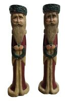"Holiday Taper Candle Holder Pair Father Christmas Santa Claus 8 5/8"" Tall"