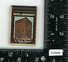 Hotel Orndorff El Paso Texas Vintage Matchcover Matchbook
