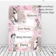 Personalised Baby Shower Unicorn Welcome Sign~Baby Girl Maternity Mum To Be pink