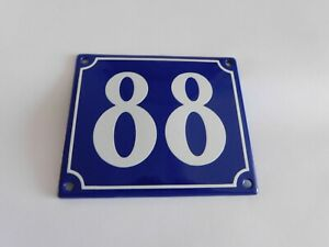 Old French Blue Enamel Porcelain Metal House Door Number Street Sign / Plate 88