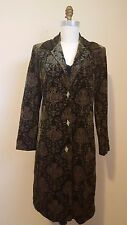 Aris A Green Silk Velvet All-Over Embroidery Duster Size S