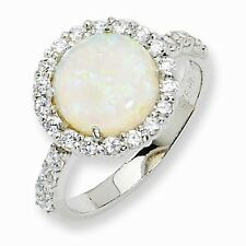 Cheryl M Sterling Silver Opal & Cubic Zirconia Ring Size 6 #1105