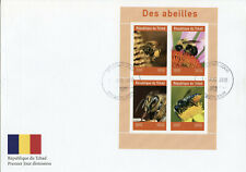 Chad 2019 FDC Bees 4v M/S Cover Abeilles Insects Flowers Nature Bee Stamps