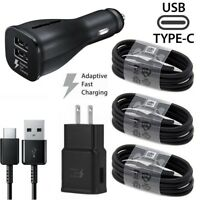 For Samsung Galaxy S8 S9 S10 Note 9 Adaptive Fast Wall Car Charger Type-C Cable