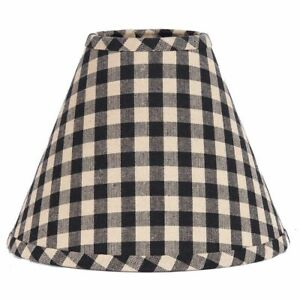 Lamp Shade 10 inch Black & Tan Check Country Primitive Decor Ring Clip Style