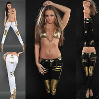 WOMEN SKINNY TROUSER JEANS LADIES CLUBBING GOLD PRINT PANT SIZE 6 8 10 12 14