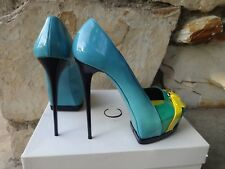 Gianmarco Lorenzi Summer Collection Paten  Leather Italian Platform Pumps EU 39