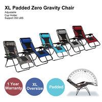 PHI VILLA Patio Oversize XL Adjustable Recliner Padded Zero Gravity Lounge Chair