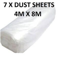 7  X LARGE POLYTHENE PLASTIC DIY DUST SHEET COVER 4M  X 8M DECORATING PAINTIN