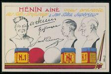 billiards balls & chalk advertising Henin Aine original old 1920s postcard