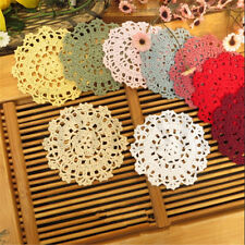 2pcs Handmade Lace Crocheted Placemat Table Mat Cotton Doily Tablecloth Round Red Wine