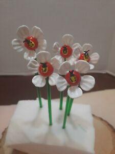 5 Art Glass Flower Venetian Figurine Murano Style #6 White Daisy W/LadyBug