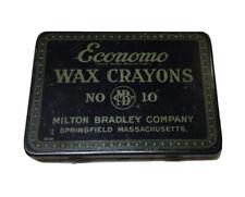Vintage Milton Bradley Economo Wax Crayons In Tin No 10