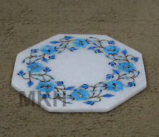 Marble Plate / Tile Turquoise Floral Inlay Kitchen Semi Precious Decor Wall Deco