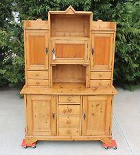 19th c Country Rustic Farmhouse Solid Pine Sideboard Buffet Hutch Cupboard wKey