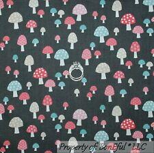 BonEful Fabric Cotton Quilt Gray Pink Blue White MUSHROOM Food Dot Calico SCRAP