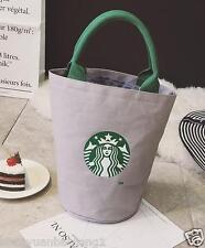 Starbucks Canvas Tote Bag Handbag Barrel Shape Shoulder ECO Shopping Bag Gray