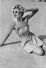 1940s-60s (4 x 6) Repro Semi Nude B/W Pinup RP- Stunning- Swimsuit- Sunglasses