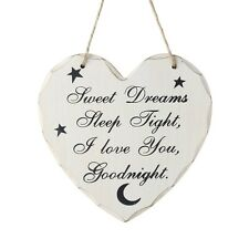 Sweet Dreams Sleep Tight I Love You Goodnight Hanging Heart Sign Plaque