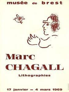MARC CHAGALL Musee de Brest 25 x 18.75 Poster 1969 Modernism Red, White