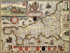 CORNWALL 1610 by John Speed - reproduction old map