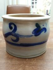 Vintage German Blue Salt Glazed Pottery Stoneware Crock Jar  'tulip' Westerwald