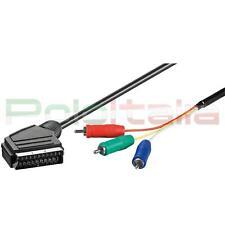 Cavo 3m SCART RGB yuv convertitore av per monitor pc tv lcd led video proiettore