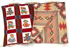"Vintage Handmade Quilt Teddy Bear 66"" X 82"" Pilled Aztec Back Blanket Bedspread"