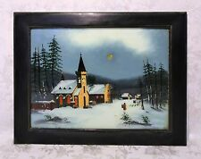 Antique 19th Century Reverse Painting on Glass Of Nocturnal Winter Church Scene