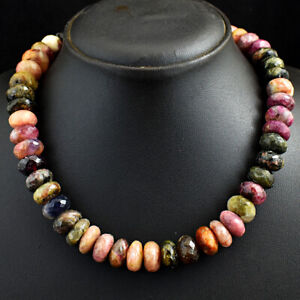 708 Cts Earth Mined Single Strand Tourmaline Faceted Beads Necklace JK 02E295