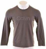 CALVIN KLEIN Mens Graphic Top Long Sleeve Large Grey Cotton  IH05