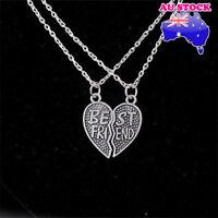 Wholesale Silver Tone Friendship Love Heart Best Friends 2 In 1 Pendant Necklace