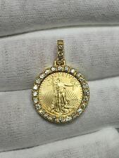 Standing Lady Liberty 5 Dollar 1/10 OZ .999 Gold Diamond Coin Bullion Pendant