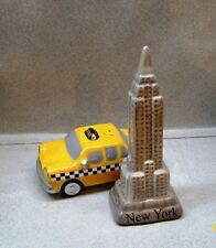 "NEW YORK CITY TAXI & EMPIRE STATE BUILDING 4.5"" TALL SALT & PEPPER SHAKERS WG F"