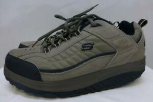 Sketchers Shape Ups Leather Shoes 50875 Gray Toning Training Gray Brown mens 14