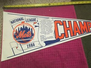 1986 New York Mets National League Champions Pennant OFFICIAL LICENSED SHIP FAST