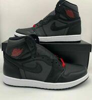 "Nike Air Jordan 1 Retro High OG ""Black Satin"" Red Shoes 555088-060 Mens Bred"