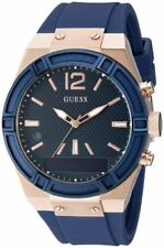 Guess Connect Ladies Smartwatch Rose Gold Navy Blue Silicone Strap C0002M1