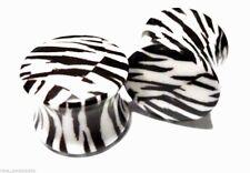"PAIR-Zebra Acrylic Double Flare Plugs 14mm/9/16"" Gauge Body Jewelry"