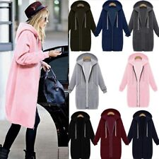 UK Womens Long Sleeve Zip Up Hooded Hoodie Jacket Jumper Cardigan Coat Plus Size