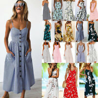 Womens Button Pocket Midi Dress Summer Strappy Beach Holiday Boho Swing Sundress